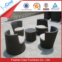 Poly rattan garden table set round coffee table outdoor furniture