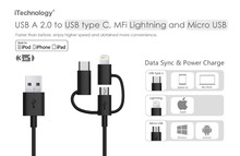 New MFI 3 in 1 USB Cable , USB A to micro/ 8pin/ TYPE C cable for iphone