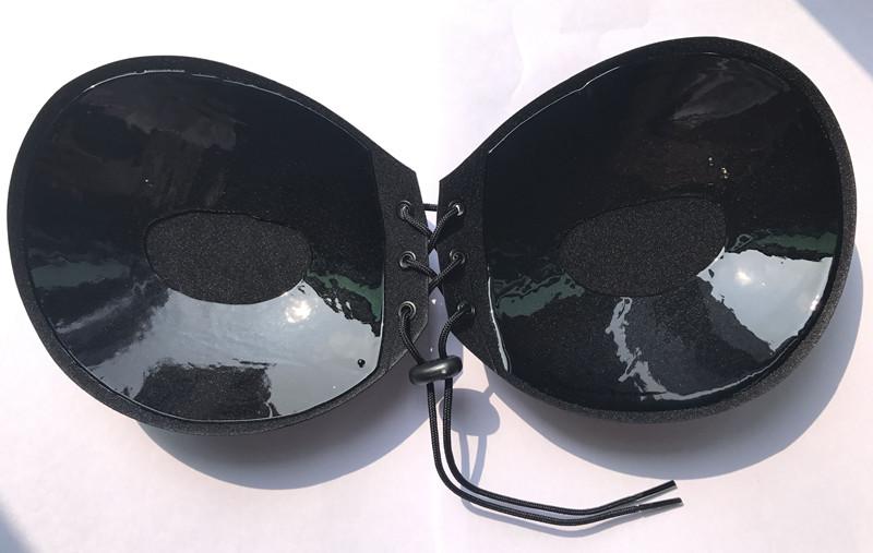 Negro ronda de silicona sujetador push up lala bare back empuje mama ascensor juntos tirantes