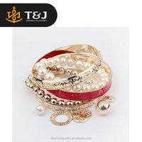 <<<Fashion Jewelry Women 6 Colors Hollow Pearl Coins Element Charm Multilayer Bangle and Bracelet/