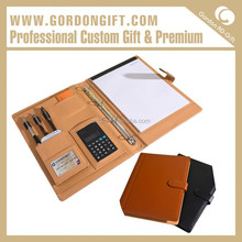 Company image advertising kinds office folder/leather folder bags with calculator china factory