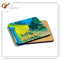 (TWA-011) Square Waterproof MDF Cork Coasters / blank cork coaster