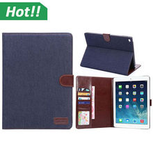 For iPad Air 2 Case Cowboy Jeans Denim Magnetic Folio Smart Leather Shell Case Cover With Stand Holder