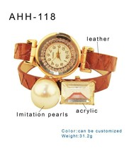 Fashion pearl Accessory Leather Strap watchband vintage Dress wrap Bracelet Watch for Women Girls