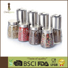 Stainless steel cap with shaker lid ceramic grinder multi use 8 in 1 compact S/S design pepper and salt grinder set