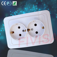 European standard flush mounted German double Shucko wall socket with earth