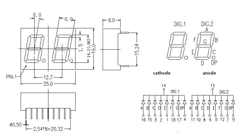 white 0 56 2 digit 7 segment display two characters