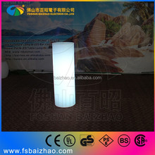 lounge bar table light cylinder table / plastic multi color bar table with recharge battery