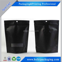 PET / PE Black Zipper Coffee Packaging Bags With Euro Hole