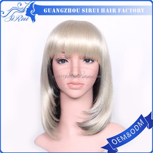 Wholesale prices human and synthetic blend hair wig, heat resistant imported synthetic hair, kids synthetic hair wigs