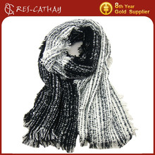 2015 winter bicolor acrylic knitted scarf