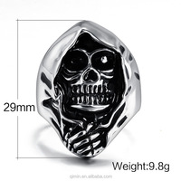 Unique style Men's domineering punk skull titanium steel Rings