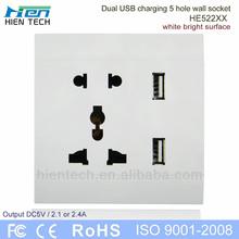 Hot sale international plug socket UK/EU/US plug wall socket with 2.1A usb port