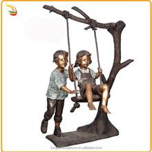 Hot Sale Life Size Bronze Children Sculpture Playing Swing Sculpture