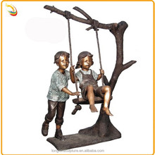Hot Sale Life Size Bronze Young Human Children Playing Swing Sculpture