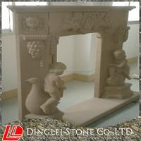 Sculpture Beige Sandstone Fireplace continental Fireplace