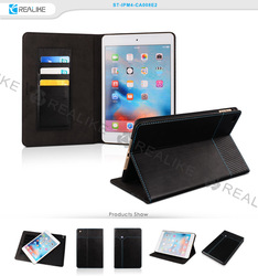 ODM unique design custom logo nice stitching magnetic leather tablet cover for ipad cover , for ipad mini 4