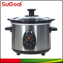 Blue stainless steel 1.5L round design mini slow cooker crock pot 120W with ceramic pot
