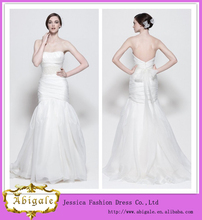 sirena de piso- sin tirantes de longitud sin mangas con cuentas sirena de tul vestido de la boda para la novia mmature( hs093)