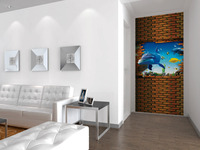wholesale Eco-friendy 3d huge mural dophin coming out of wall for living room sofa tv murals wallpaper