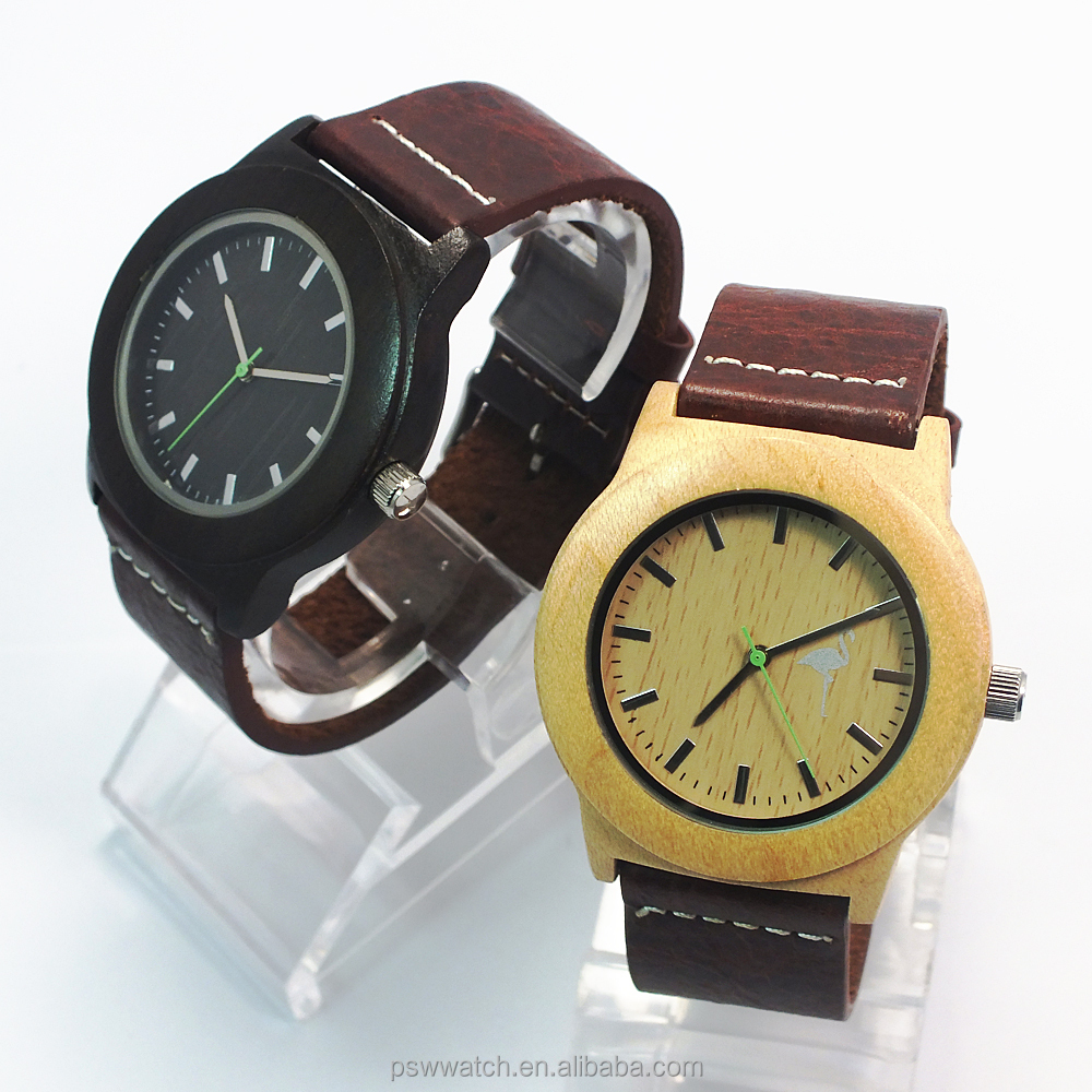 2015 fashion sandal bamboo wood watches leather miyota 2035 movement luxury wooden watch