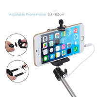 (sl) Extendable Handheld Monopod Audio Cable Wired Palo Selfie Stick For Iphone 6 plus 5s 4s Samsung Android