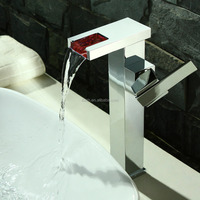 Square Brass LED Water Fall Basin Faucets