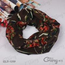 Black background female dark flower muffler scarf