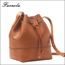 2015 fashion cheap drawstring genuine leather lady shoulder bucket bag