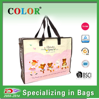Webbing handle recycle pp woven zipper bag in good quality