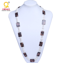 wholesale genuine nugget pearl shell leopard print necklace