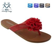 2016 summer fancy red flower ladies flip flop slipper