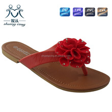 2016 summer fancy red flower ladies flip flop slipper