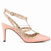 China wholesale middle heel sandals with studs for ladies 2015
