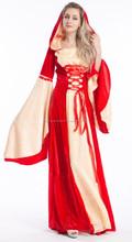 Juego tronos Medieval rojo con capucha vestido de traje