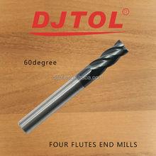Tungsten end mill(Four Flutes Spiral End Mills)