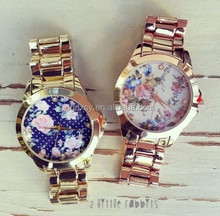 Geneva Quartz watches flower print alloy golden band watch