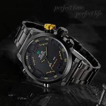 WEIDE 2309B-3C Japón Movt reloj de cuarzo de acero inoxidable de nuevo, Relogios masculino 2015, weide relojes para hombres