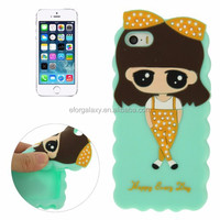 in stock Cartoon Lovely Girl Pattern Silicone Case for iPhone 5 & 5S