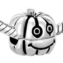 S511 Happy Jack Lantern Halloween Pumpkin 925 Sterling Silver Beads Charm