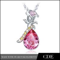 CDE Rose Shape Crystal From Swarovski Pendant Friendship Necklace
