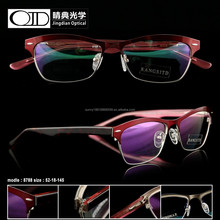colorful steel metal stainless frame with diamond wide acetate temple leg optic 8788