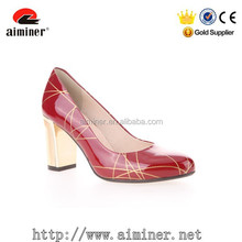hot red patent leather woman dress shoes chunk gold heel round toe shoes for office lady