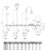 HDG garden lamp pole