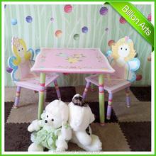 Nuevo diseño de color rosa niños de madera mesa de muebles y 2 sillas mesa de dibujos animados para jugar