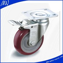 3 inch Braked Caster With Tpu Wheels (nylon Core) Swivel Caster Trolley Wheel