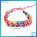 A la moda trenzado bandas goma colores arcoiris brazaletes bandas elásticas