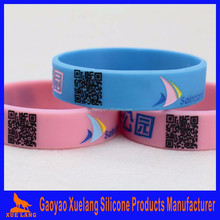 impression scannable unique QR code debossed silicone wristband hand band wrist band
