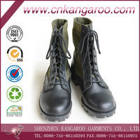 Genuine cow leather+Canvas Cordura 600D Army Green Laces up Anti-slip Anti-wear Liberty Army Jungle Boots with Customized Size