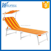 Wholesale Cheap Sunbed Aluminum Folding Outdoor Beds with Canopy